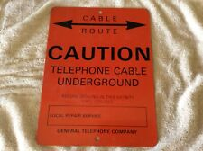 Vintage Nos Cable Route Caution Telephone Cable Underground metal Sign Vintage
