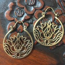 Lotus Flower Circle Drop Hoop Earrings in Brass