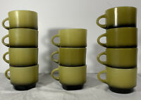 Vintage Fire King Anchor Hocking Set of 11 Green Black Stacking Coffee Mugs Cups