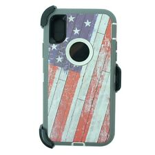 USA Flag For iPhone X (iPhone 10) Defender Case w/(Belt Clip Fits Otte