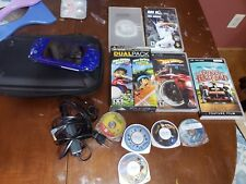 Sony PSP 2001 Blue Console 1GB Bundle W/ 10 Games & Movies and Case!