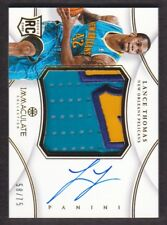 2012-13 Immaculate Jumbo Patch Auto #PP-LT Lance Thomas 58/75 Pelicans