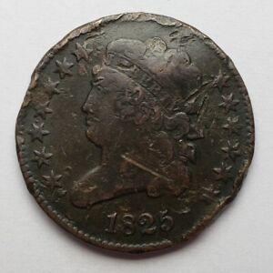 1825 Classic Head Half Cent Damaged Fine