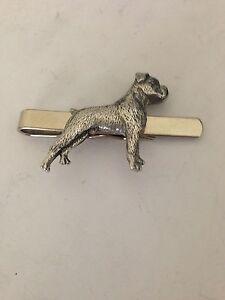 Boxer Dog PP-D17 English Pewter Emblem on a Tie Clip (Slide)