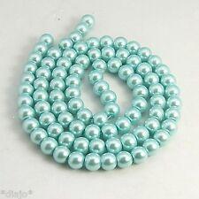 50 Glaswachsperlen 8mm hellblau metallic Perlen Glasperlen