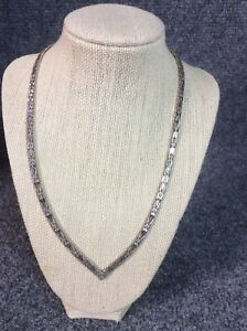 Beautiful Sterling Silver 925 Italy Woven V Shape Collar necklace