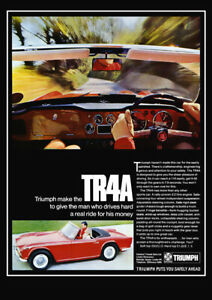 TRIUMPH TR4A RETRO A3 POSTER PRINT FROM CLASSIC 60'S ADVERT 1967