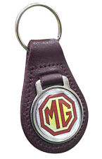 MG Logo Quality Burgundy Leather Keyring