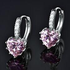Silver Huggie 9mm Heart Cut Pink Crystal Diamond Gold Filled Women Hoop Earrings