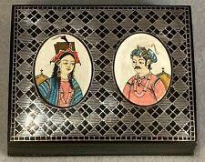 Antique Bidriware Niello Silver Hand Painted Miniature Portraits Trinket Box