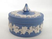 Wedgwood Blue Jasperware Round Trinket Vanity Dresser Dish Box with Lid 255B