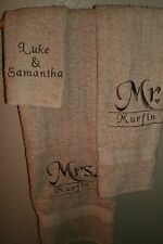 Mr. & Mrs. Monogram heart Personalized 3 Piece Bath Towel Set ANY COLOR