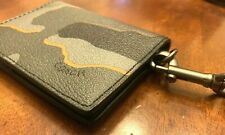 COACH Men's Gray Camo Lanyard Wallet ID Case Leather Credit Card Case New Tag