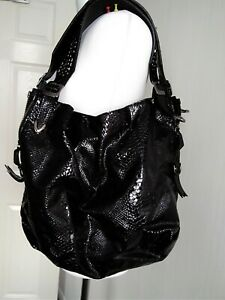 Russell Bromley Patent Real Leather Studs Extra Large Black Bag