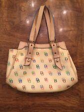 Dooney & Bourke Small Cream Signature Handbag Rainbow Zipper.