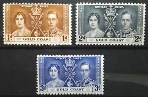 Gold Coast Stamp 1937 Coronation Issue Scott # 112-114 SG117-119 MINT OG H