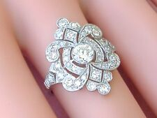ANTIQUE ART DECO 1.50ctw DIAMOND PLATINUM COCKTAIL ENGAGEMENT RING 1930 size 7