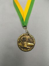 "Gymnastics gold medal with green/gold neck drape 2"" diameter trophy award"