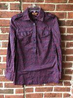 Tory Burch Women's Shirt Top Navy Red Button Down Long sleeve 100% Cotton Sz.4