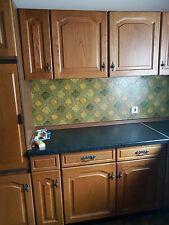 Küchenzeile Einbauküche Echtholz Küchenschrank Weiß Backofen Herd Kühlschrank