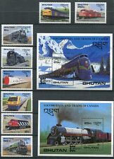BHUTAN 1987 CANADIAN TRAINS - LOCOMOTIVES - CAPEX SET OF 8 + 2 SOUVENIR SHEETS!
