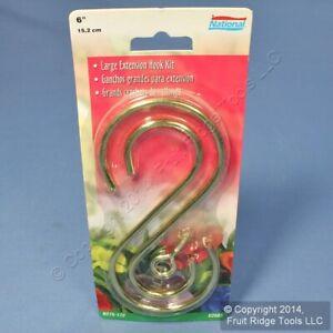 """Brass Finish Steel 6"""" Ceiling Suspended Large S-Hooks + Screw Eye V2665 N275-172"""