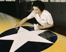 War worker paints US star on the wing of Navy plane -New 8x10 World War II Photo