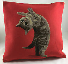 Red with Acrobatic Tabby Cat Evans Lichfield Cushion Cover