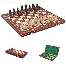 Unique Chess Wood Set Hand Carved Box Folding Chessboard Game New