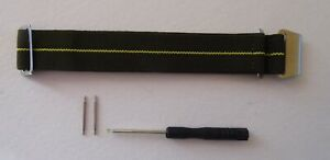 FRENCH MILITARY/NAVY ELASTIC WATCH STRAP GREEN / YELLOW - S/S BUCKLE 20 & 22MM