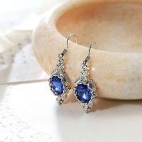 Holiday Jewelry Flower Blue Fire Topaz Gemstone Silver Dangle Hook Earrings