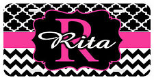 Personalized Monogrammed License Plate Auto Car Tag Clover Chevron Pink Black