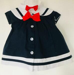 💗BBLJ 3 Piece Navy & White Baby Sailor Dress, Knickers & Hairband Set💗