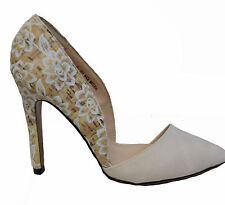 Creme Beige Floral Cork Pointed Pointy High Stilettos Heels Pumps Shoes 11