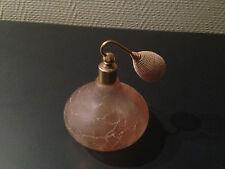 ancien flacon de parfum style art deco en verre craquelé