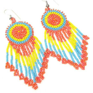 NEW ORANGE TURQUOISE BLUE YELLOW HANDCRAFTED FASHION BEADED HOOK EARRINGS