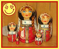 Nesting Russian Dolls MATRYOSHKA Babushka small RED BLACK lovely5 Best GIFT
