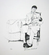 "NORMAN ROCKWELL Hand Signed 1972 Original Lithograph - ""Two O'Clock Feeding"""