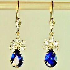14k solid yellow gold 9x6mm teardrop Blue Sapphire & CZ nice earrings leverback