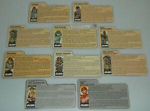 Lot 1980s GI Joe Cobra Brown Red Back Mail Away File Card Set Hasbro Direct Asst