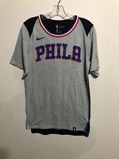 Nike Philadelphia 76ers Phila Spell Out Gray And Black T-Shirt Small Dri-Fit