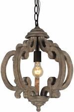 DOCHEER Rustic Wooden Chandelier Farmhouse 1-Light Wood Metal Chandeliers, Ceili