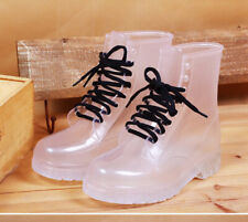 Womens Rainshoes Clear Rain Boots Jelly Lace Up Waterproof Rubber Ankle Boots