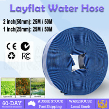 "1"" 2"" 25/50m PVC Layflat Hose Water Pump Transfer Lay Flat Outlet Discharge OZ"