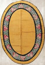 Antique Oval Shape Floral Gold Savonnerie French Art Deco Oriental Rug Wool 8x11