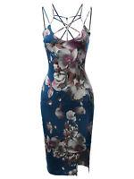 FashionOutfit Women's Floral Spaghetti Spider Web Strap Midi Dress - Made in USA