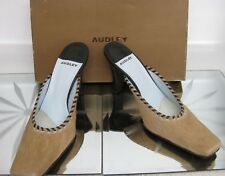 Spanish made AUDLEY brown slip on leather heel shoes Size 7 UK  EU 40