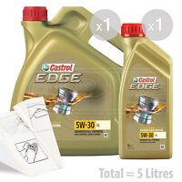 Car Engine Oil Service Kit / Pack 5 LITRES Castrol EDGE 5w-30 LL 5L