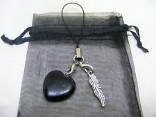 Natural Black Obsidian Heart & Bird Feather Mobile Phone / Handbag Charm