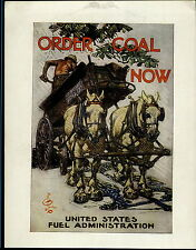 1919 Mini Poster WW1 Liberty Loans War Bonds F X Leyendecker Order Coal Now